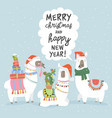 christmas card with llama merry card vector image vector image