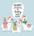 christmas card with llama merry card vector image