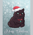 christmas poster with cat portrait in red santa s vector image vector image