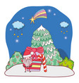 christmas santa claus with gift in snowscape vector image vector image