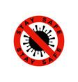 coronavirus caution badge covid-2019 safety vector image