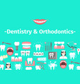 dental banner with flat icons vector image vector image