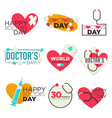 doctors day isolated icons medicine pills and vector image vector image