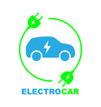 electric car on charging station vector image vector image