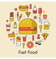 Fast Food Line Art Thin Icons Set with Burger vector image