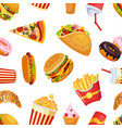 fast food seamless pattern restaurant or cafe vector image vector image