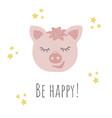 funny pig retro stylebe happy phrase vector image vector image