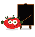 Funny tomato and a blackboard vector image vector image
