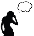 girl silhouette with speech bubble in black vector image vector image