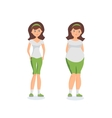 Girl with fat forms abdomen and athletic girl vector image vector image