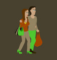 guy and girl with shopping bags vector image vector image