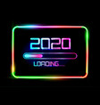 happy new year 2020 loading icon blue neon sign vector image vector image