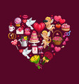 heart valentines day gifts flowers and cupids vector image vector image