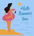 hello summer girl and inflatable pink flamingo vector image