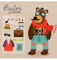 Hipster pack for animal teddy bear vector image vector image