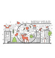 holiday christmas and new year concept line banner vector image vector image