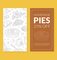 homemade pie card template special offer flyer vector image vector image