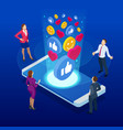 isometric social media and social network concept vector image vector image