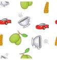 Italy symbols pattern cartoon style vector image vector image