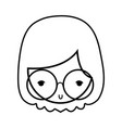 line old wioman face with glasses and hairstyle vector image vector image