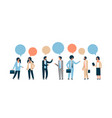 mix race business people chat bubble communication vector image vector image