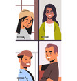 mix race friends meeting during video call stay vector image vector image