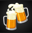 mugs with light beer and froth for vector image vector image