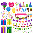 party colorful icons set vector image vector image