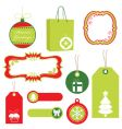 red and green Christmas tags vector image vector image