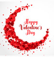 red papercut hearts in cresent shape valentines vector image vector image