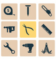 repair icons set with electric instrument multi vector image