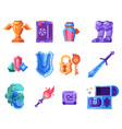rpg game fantasy icons with knight equipment vector image