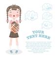 Schoolgirl is preparing for exams vector image