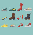 set of flat-style shoes colored on blue background vector image vector image