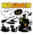 set of halloween silhouettes 2 vector image