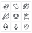 Set of Mongol Tatar Yoke Icons Asian