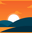 simple beach landscape with a hill in evening vector image vector image