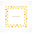 square frame gold coins isolated on transparent vector image vector image