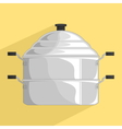 steamer pot icon vector image vector image