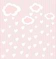 striped background with clouds and hearts vector image vector image