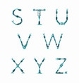 technical robot font letters from s to z vector image vector image