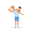 tired father and his naughty son parenting stress vector image vector image