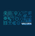 values blue horizontal thin line banner on dark vector image vector image