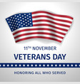 veterans day poster with the flag of united states vector image vector image