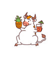 white bull with pineapple and cocktail - chinese vector image vector image