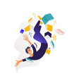 young boy flying surrounded by books and note pads vector image
