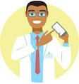 young doctor pointing on smartphone vector image vector image