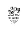 vintage food truck logo with lettering vector image