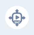360 degrees video content icon vector image vector image