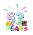 53 years anniversary celebration greeting card vector image vector image